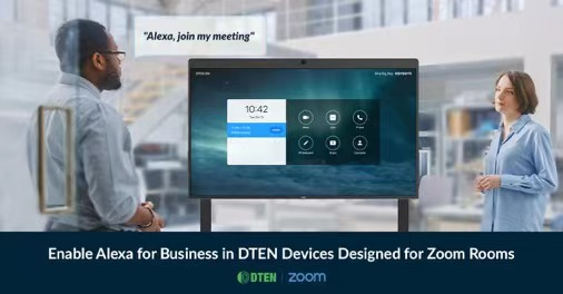 Employees in office using Zoom Rooms on DTEN all-in-one video meeting device