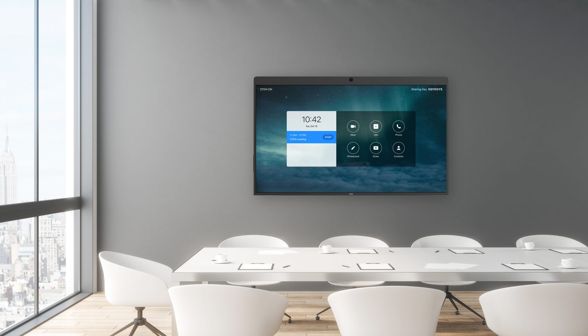 """Zoom Rooms on DTEN ON 55"""" Device in modern conference room"""